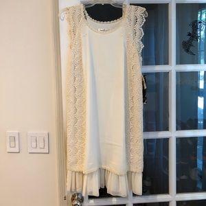 Kensie NWT sz6 cream shift dress w crochet details